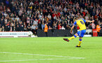 SHEFFIELD, ENGLAND - SEPTEMBER 21: James Ward-Prowse of Southampton scores his penalty during the Carabao Cup Third Round match between Sheffield United and Southampton at Bramall Lane on September 21, 2021 in Sheffield, England. (Photo by Matt Watson/Southampton FC via Getty Images)