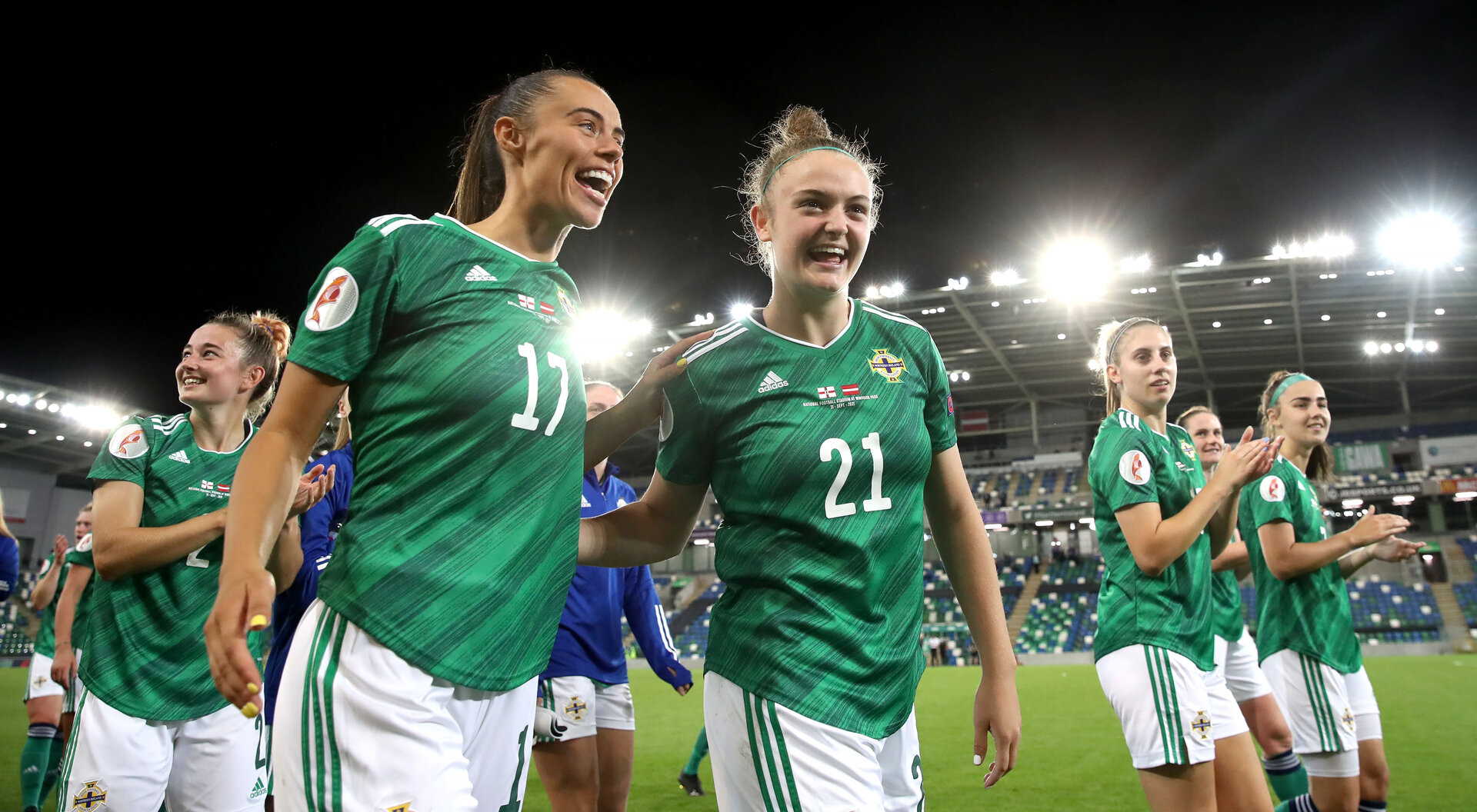 Press Eye - Belfast, Northern Ireland - 21st September 2021 - Photo by William Cherry/Presseye  Northern Ireland's Laura Rafferty and Kerry Beattie after the final whistle of the 4-0 win in Tuesday nights Women's World Cup Qualifier against Latvia at the National Stadium, Belfast    Photo by William Cherry / Presseye