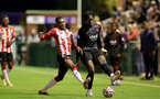SOUTHAMPTON, ENGLAND - SEPTEMBER 23: Remello Mitchell(L) of Southampton during the Premier League Cup match between Southampton B Team and West Bromwich Albion at Snows Stadium on September 23, 2021 in Southampton, England. (Photo by Isabelle Field/Southampton FC via Getty Images)