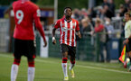 SOUTHAMPTON, ENGLAND - SEPTEMBER 23: Kazeem Olaigbe of Southampton during the Premier League Cup match between Southampton B Team and West Bromwich Albion at Snows Stadium on September 23, 2021 in Southampton, England. (Photo by Isabelle Field/Southampton FC via Getty Images)