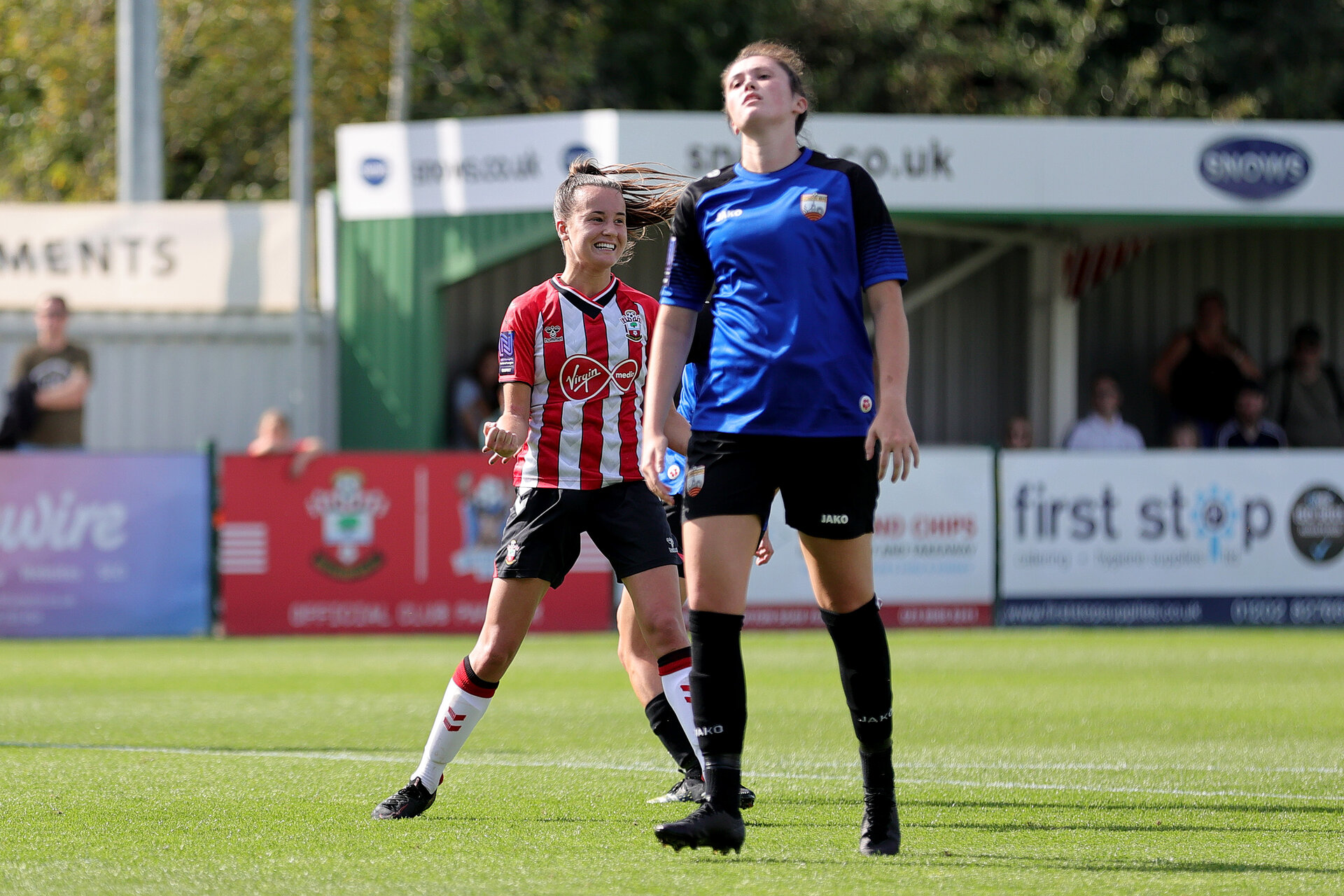 CHELTENHAM, ENGLAND - SEPTEMBER 26:  during the FA National League Southern Premier match between   Southampton Women and London Bees at The Snows Stadium on September 26, 2021 in  Cheltenham, England. (Photo by Isabelle Field/Southampton FC via Getty Images)