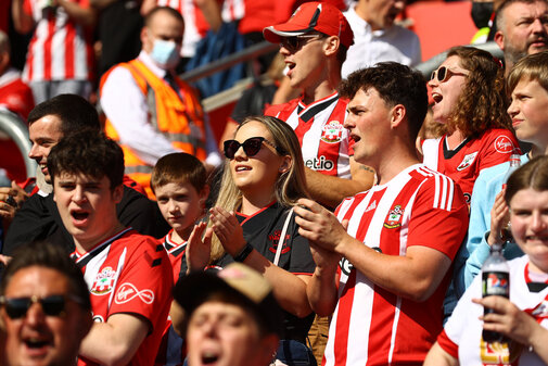SOUTHAMPTON, ENGLAND - SEPTEMBER 26: Saints fans during the Premier League match between Southampton and Wolverhampton Wanderers at St Mary's Stadium on September 26, 2021 in Southampton, England. (Photo by Matt Watson/Southampton FC via Getty Images)