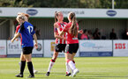 CHELTENHAM, ENGLAND - SEPTEMBER 26: Sophia Pharoah(L) of Southampton celebrates scoring with Georgie Freeland(R) of Southampton during the FA National League Southern Premier match between   Southampton Women and London Bees at The Snows Stadium on September 26, 2021 in  Cheltenham, England. (Photo by Isabelle Field/Southampton FC via Getty Images)