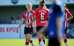 CHELTENHAM, ENGLAND - SEPTEMBER 26: Lucia Kendall(L) of Southampton goal celebration during the FA National League Southern Premier match between   Southampton Women and London Bees at The Snows Stadium on September 26, 2021 in  Cheltenham, England. (Photo by Isabelle Field/Southampton FC via Getty Images)