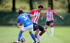 BIRMINGHAM, ENGLAND - SEPTEMBER 27: Caleb Watts(R) of Southampton during the Premier League 2 match between Birmingham City and Southampton B Team at Wast Hills Training Ground on September 27, 2021 in Birmingham , England. (Photo by Isabelle Field/Southampton FC via Getty Images)