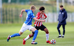 BIRMINGHAM, ENGLAND - SEPTEMBER 27: Kamari Doyle(R) of Southampton during the Premier League 2 match between Birmingham City and Southampton B Team at Wast Hills Training Ground on September 27, 2021 in Birmingham , England. (Photo by Isabelle Field/Southampton FC via Getty Images)