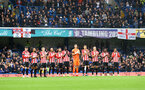 LONDON, ENGLAND - OCTOBER 02: Players line up to pay respects to Roger Hunt during the Premier League match between Chelsea and Southampton at Stamford Bridge on October 02, 2021 in London, England. (Photo by Matt Watson/Southampton FC via Getty Images)